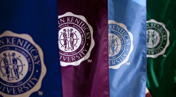 Multicolor banners featuring Eastern Kentucky University seal